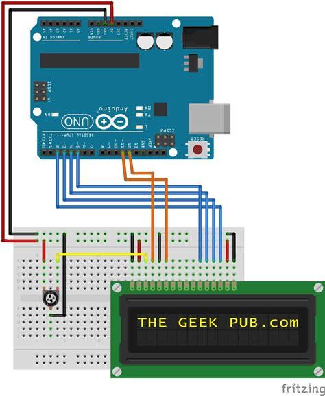 arduino lcd display wiring the pub