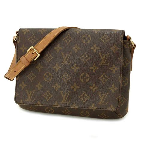 auth louis vuitton monogram musette tango shoulder bag