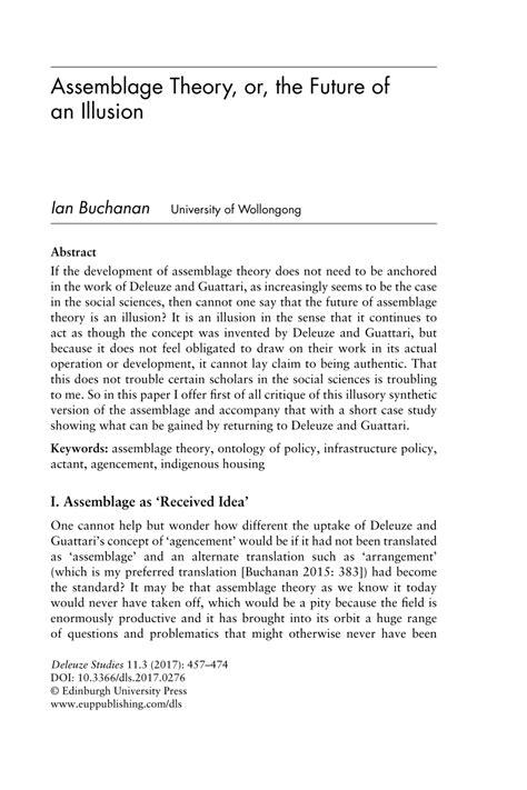 assemblage theory   future   illusion