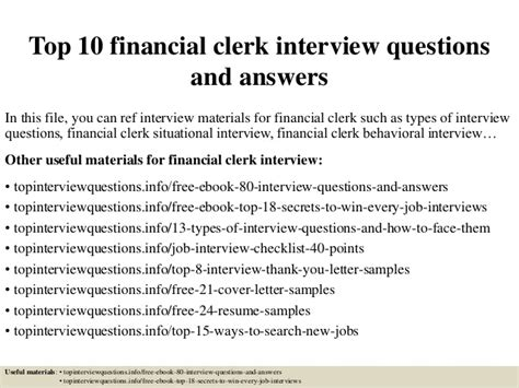 finance clerk cover letter sles top 10 financial clerk questions and answers