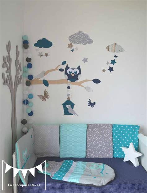 chambre sauthon bleu stickers décoration chambre enfant garçon bébé branche