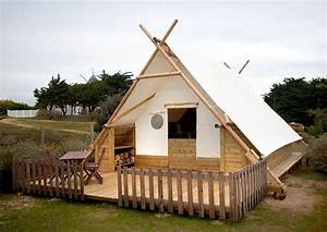 Camping House Built With Wood And Canvas