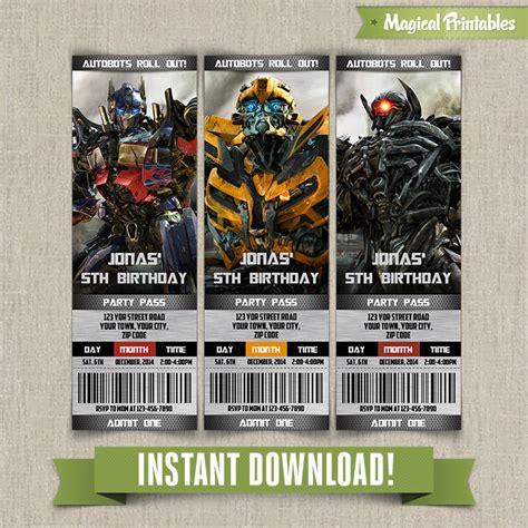 transformers birthday ticket invitation instant