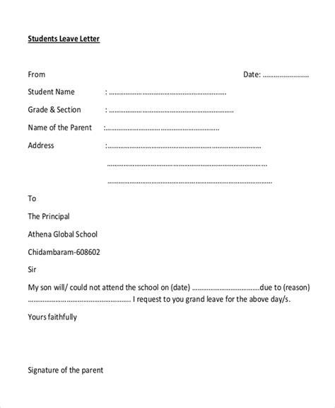 leave application letter format in pdf 28 images sle