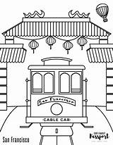 Coloring Francisco Chinatown Cable Passport Trolley sketch template
