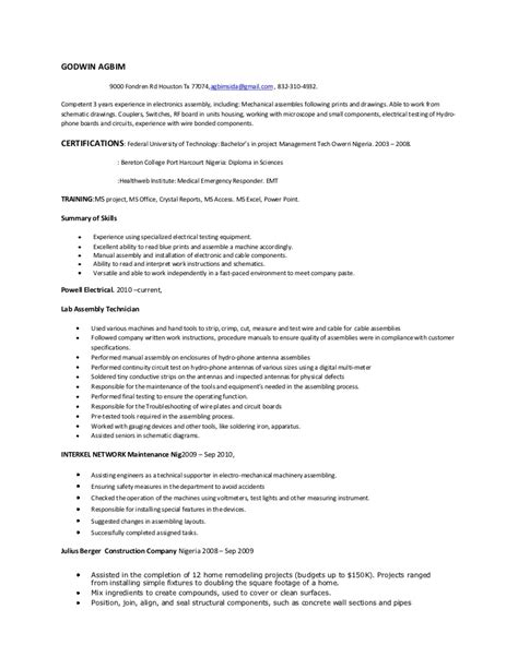 Best Electronic Assembler Resume by Assembly Resume Skills Electronic Assembler Resume Best