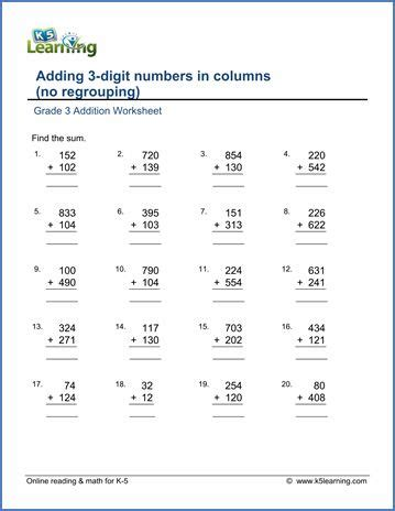 grade 3 addition worksheet adding 3 digit numbers in
