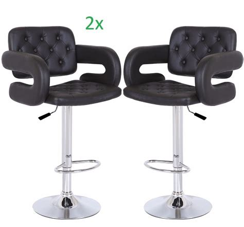 modern swivel black leather dining chair bar stool with