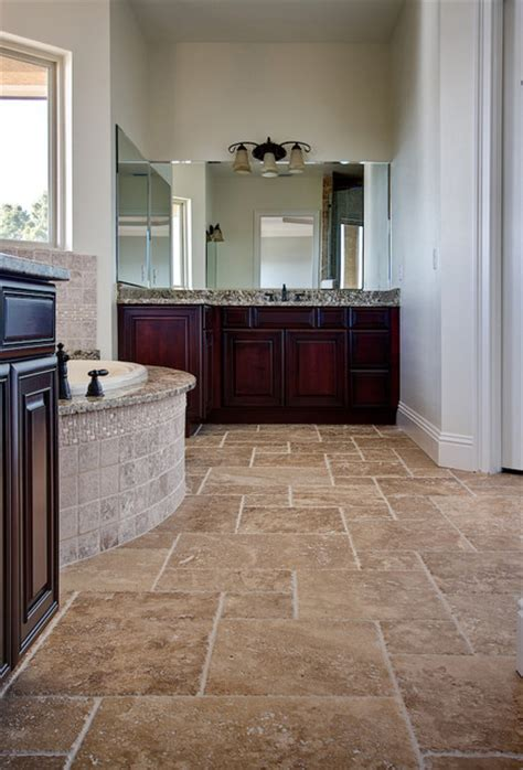 noce travertine tiles traditional bathroom tampa