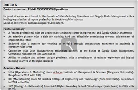 resume format resume format for fresher automobile engineer