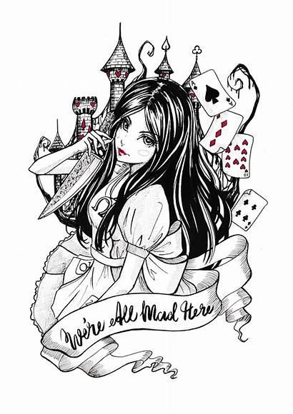 Alice Madness Wonderland Returns Inktober Dark Mad