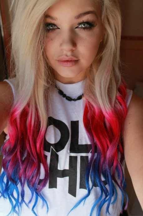 Colorful Hair Red And Blue Tips Colored Hair Blonde