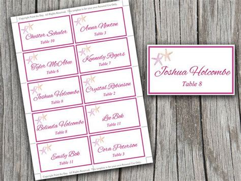 wedding table setting cards templates starfish wedding place cards microsoft word template