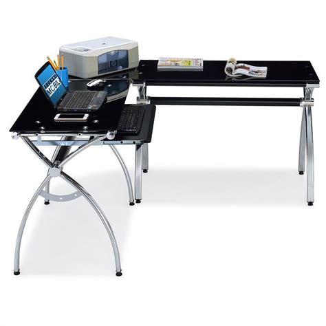 techni mobili l shaped glass desk with chrome frame in black rta 0039lc bk