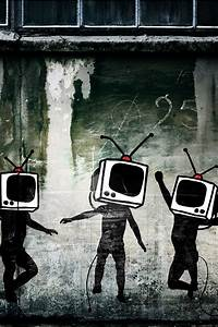 Banksy Banksy TV Heads iPhone 4 Wallpaper and iPhone 4S ...