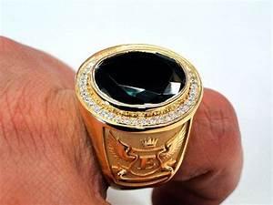 Custom Bishops Ring Green Stone Men39s Signet 14k Yellow