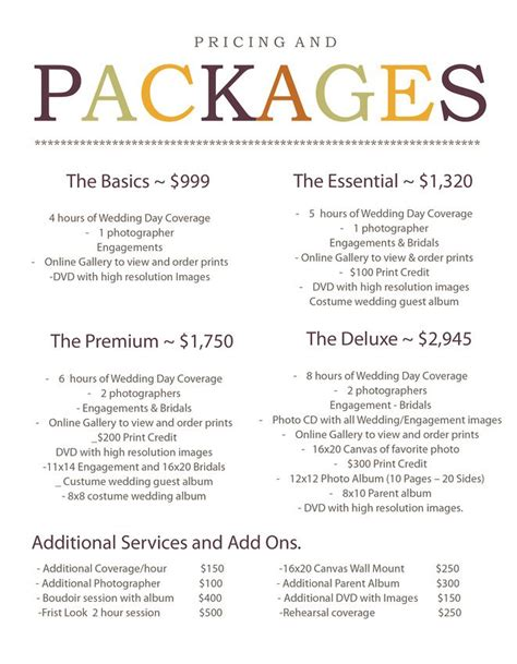 photography pricing 1000 images about package ideas on wedding photography pricing stationery and