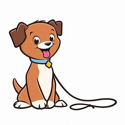 Dog Cartoon Puppy Clipart Leash Vector Clip