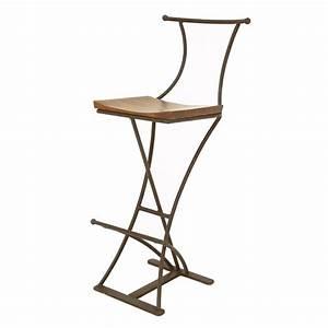 Tabouret De Bar Fer : tabouret de bar fer forg et palissandre meuble r tro ~ Dallasstarsshop.com Idées de Décoration