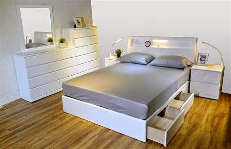 alison bx glossy white bed modern furniture