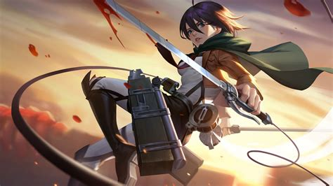 desktop wallpaper mikasa ackerman attack  titan art