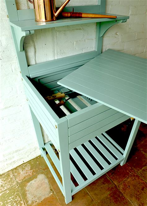 buy space saving potting bench with storage eau de nil