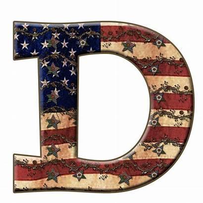 Letter Alphabet Capital Scrapbook Americana Flag Granny