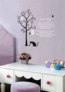 cat wall stickers 3 birds wall stickers tree wall stickers With cat wall decals