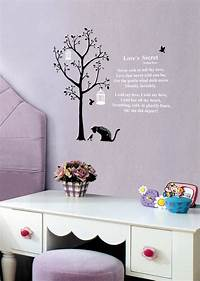 good looking cat wall decals Cat Wall Stickers 3 Birds Wall Stickers Tree Wall Stickers - wallstickery.com