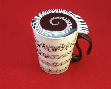 Ceramic Coffee Tea Mug With Lid Horizontal Music Notes