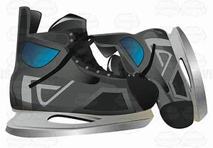 Pair Of Black Ice Skates With One Sideways Vector Clip Art ...