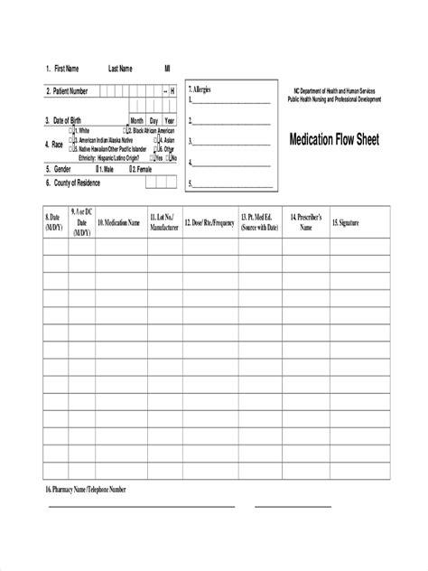 medication sheet examples samples