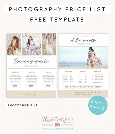 photographer price list template  strawberry kit
