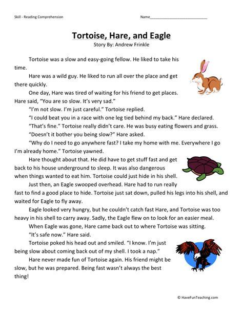 reading comprehension worksheet tortoise hare and eagle