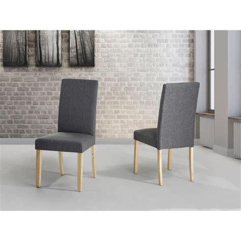 chaises de salle 224 manger lot de 2 chaises en tissu gris broadway achat vente chaise