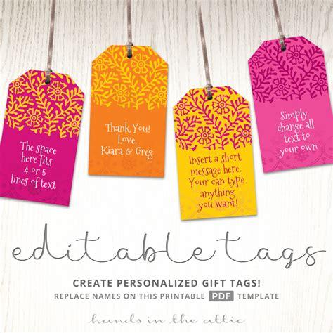 printable indian wedding gift tags bright pink orange
