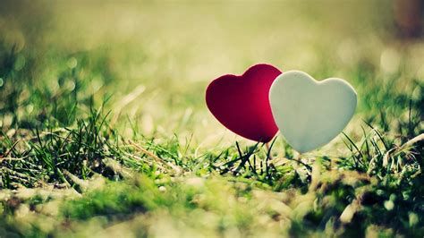 White And Red Lovely Heart Hd Wallpaper