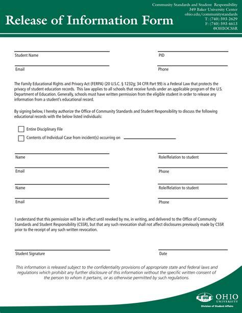 release of information form release of information form