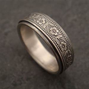 Wedding Band Floral Wedding Ring In Sterling Silver