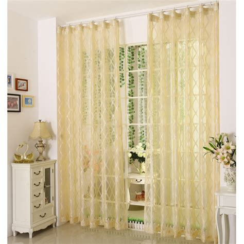 Modern Curtain Panels For Living Room by Pale Yellow Polyester Fabric Sheer Curtains With Patterns