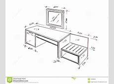 Modern Interior Design Desk Freehand Drawing Stock
