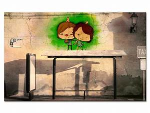 Toile Street Art : tableau street art photo arr t de bus impression sur toile ~ Teatrodelosmanantiales.com Idées de Décoration