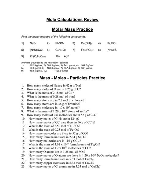 Molar Mass Worksheet With Answers Worksheets For All  Download And Share Worksheets  Free On