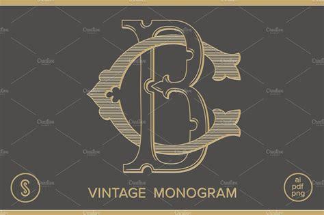bc monogram cb monogram pre designed illustrator graphics creative market