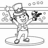 Coloring Magician Illustration Wand Hand sketch template
