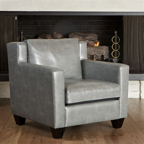 caldwell grey leather club chair modern living room