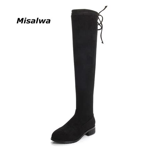Misalwa Sheepskin Leather New Over The Knee Boots