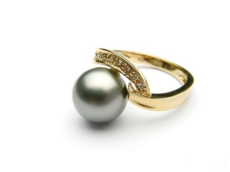 pearl wedding rings black tahitian pearl ring aaa pearl rings pearl hours