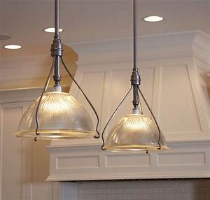 Vintage holophane pendants traditional kitchen island