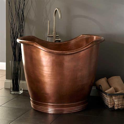 hammered l base 41 quot teramo copper japanese soaking tub bathtubs bathroom